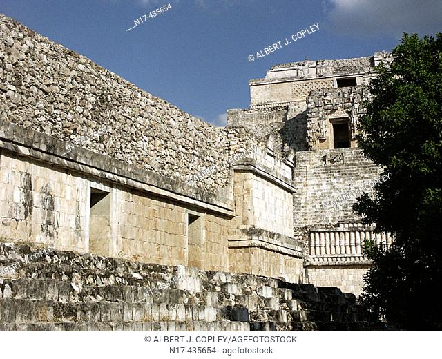 Nunnery Quadrangle in Uxmal, Pre-Columbian ruined city of the Maya civilization (late Classic period 600 - 900 A.D.). Yucatan, Mexico