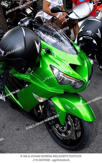 Green motorbike, Stockholm, Sweden