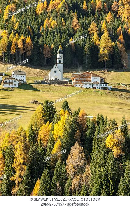Autumn morning at Hollbruck village, Tyrol, Italy