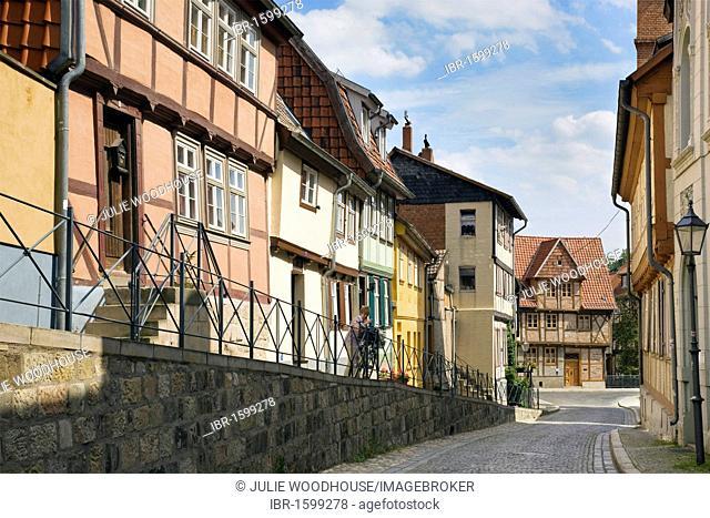 Wassertorstrasse street, Quedlinburg, Saxony-Anhalt, Germany, Europe