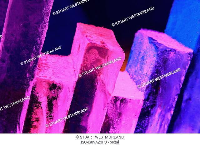 Stack of ice blocks lit with colourful lights near Fairbanks, Alaska