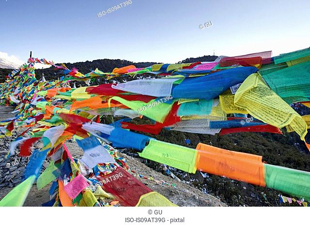 Colourful prayer flags, Shangri-la County, Yunnan, China