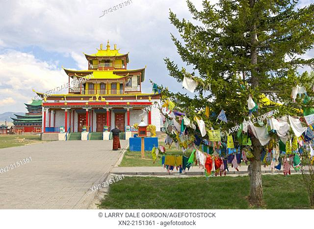 Buddhist prayer flags blow in the wind at the Ivolginsky Datsan temple, built in 1945, in the village of Verkhnyaya Ivolga, near Ulan Ude, Buryatia, Siberia