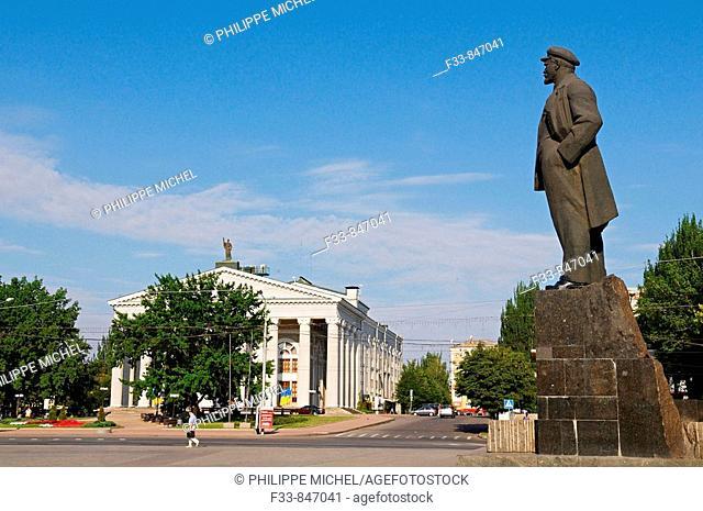 Lenin statue on the main square, Donetsk, Ukraine