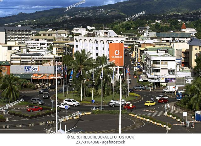 Overview of Papeete city. Tahiti, French Polynesia, Papeete's harbour, Tahiti Nui, Society Islands, French Polynesia, South Pacific