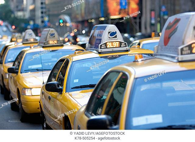 Taxi stand, Manhattan, NY, USA