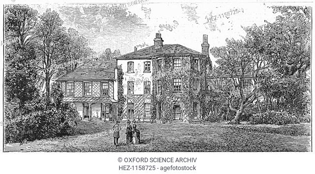 Down House, near Beckenham, Kent, 1887. Garden view of the home for forty years of Charles Darwin (1809-1882), English naturalist