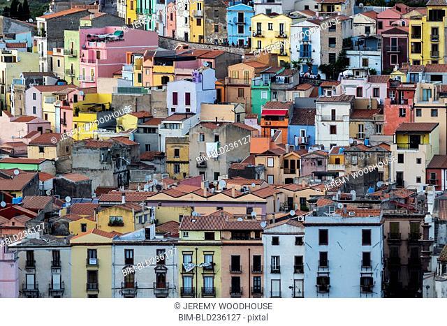 Multicolor cityscape, Bosa, Provincia di Oristano, Italy
