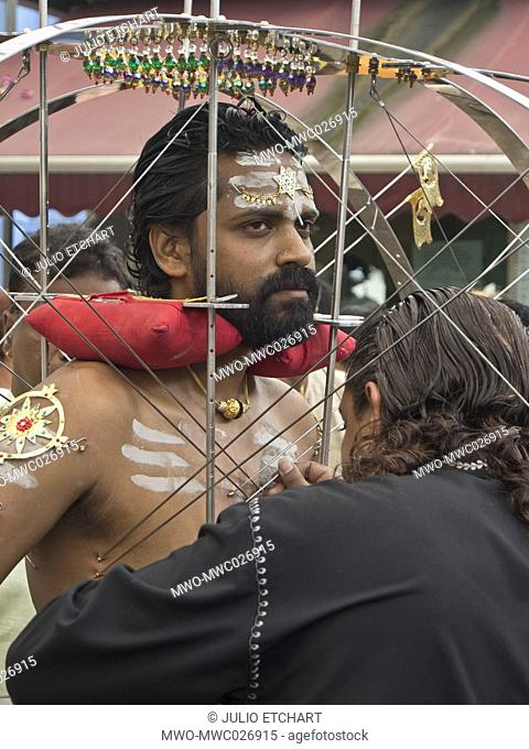 Singapore.17 January,2014. Thaipusam Hindu Tamil festival celebrated in Little India, Singapore. Some devotees have their bodies pierced with skewers