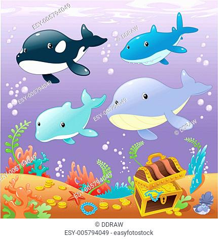 Family animals in the sea