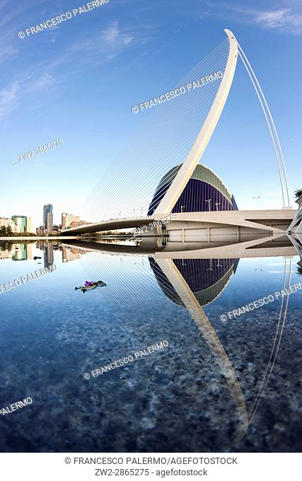 Assut de l'Or Bridge and the L'Ã. gora reflected in the water. Valencia, Spain