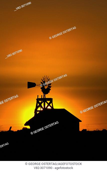 Windmill sunrise, Fort Rock Homestead Village, Christmas Valley National Back Country Byway, Oregon