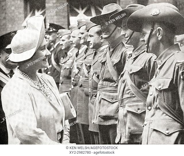 Queen Elizabeth greeting Australian troops in Britain in 1940, during World War Two. Queen Elizabeth, The Queen Mother. Elizabeth Angela Marguerite Bowes-Lyon