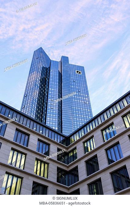 Europe, Germany, Hessia, Frankfurt, view from below on Deutsche Bank