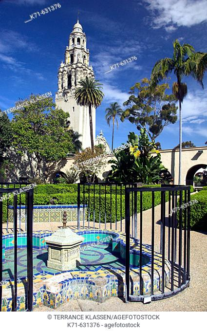 The ornate architecture of the tower and dome of the Museum of Man building in  Balboa Park in San Diego, California, USA