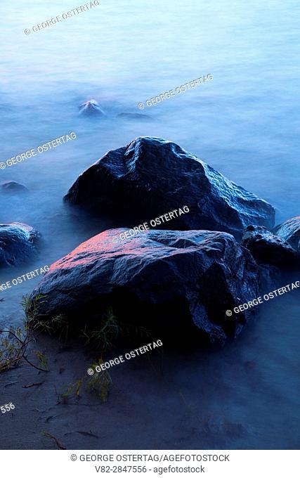 Lake Superior shoreline rocks at dawn, Memorial Park, Washburn, Wisconsin