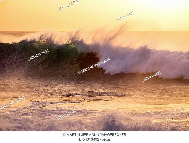 Ocean waves, evening light, Atlantic, Valle Gran Rey, La Gomera, Canary Islands, Spain