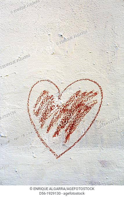 Drawing of heart on wall