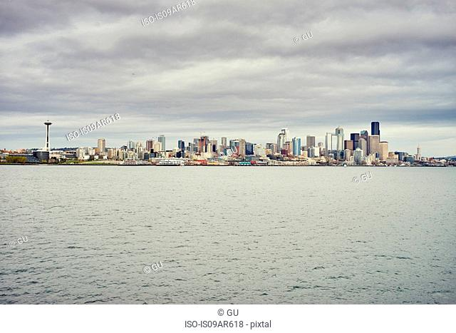 View of skyline over Puget Sound, Seattle, Washington State, USA
