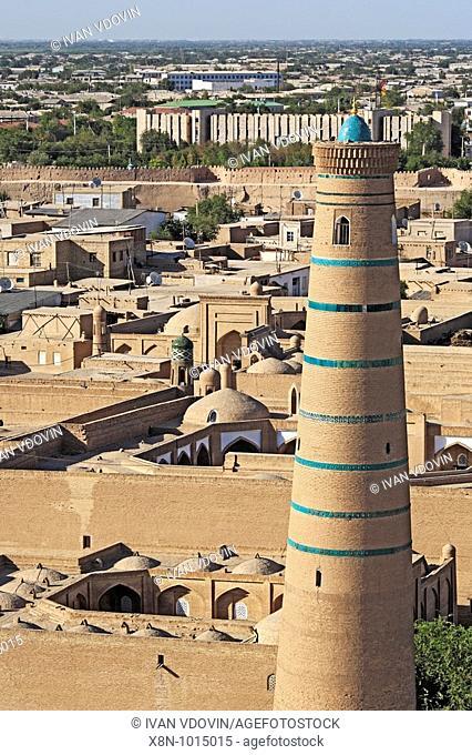 Juma minaret, view from the Minaret of Islam-Khodja, Khiva, Uzbekistan