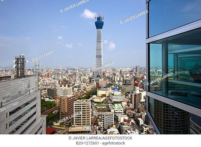Asahi Beer Tower and Tokyo Sky Tree under construction, Sumida, Asakusa, Tokyo, Japan