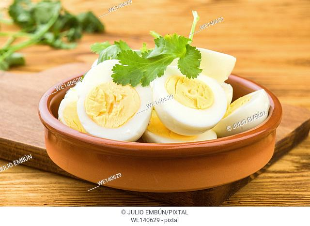 means boiled eggs in mud pie plate