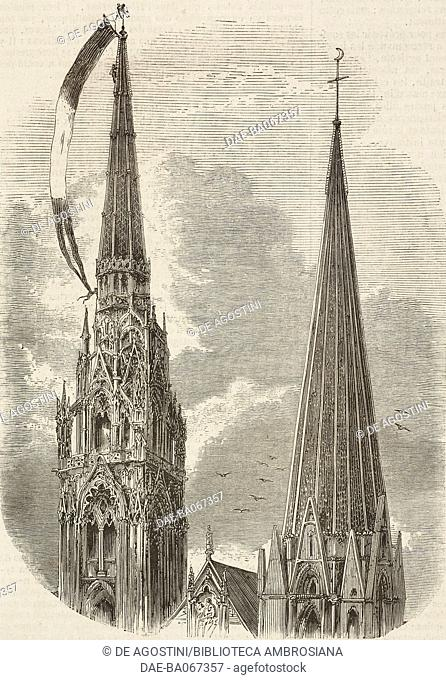 The bell tower of the Cathedral of Chartres, France, an oriflamme, flag shown during celebrations, is waving on its top, illustration from the magazine...