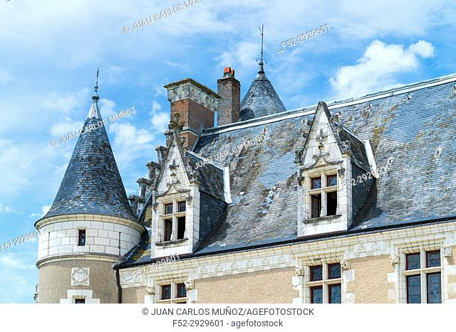 Main facade, Montpoupon Castle, Céré-la-Ronde, Indre-et-Loire Department, The Loire Valley, France, Europe