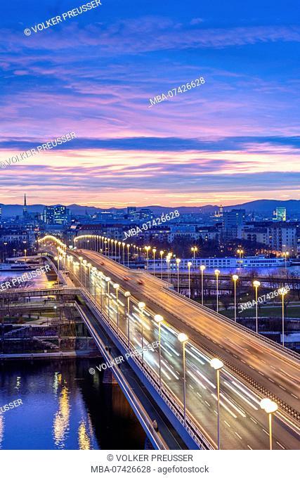 Vienna, bridge Reichsbrücke, river Neue Donau (New Danube), Donau (Danube), Donauinsel (Danube Island), Prater, Ferris Wheel, Stephansdom (St