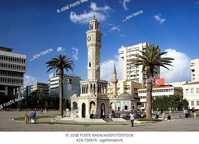 Historic clock tower at the Konak Square, Izmir, Turkey