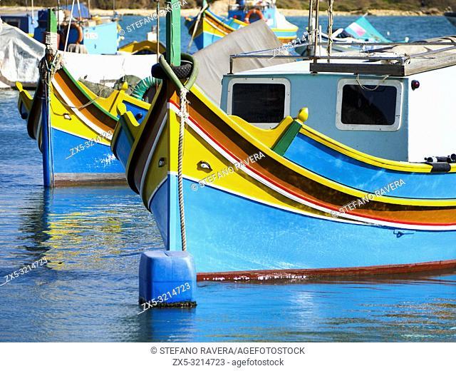 Luzzu traditional Maltese fishing boat - Marsaxlokk, Malta