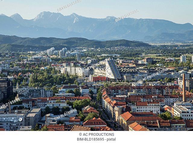 Aerial view of Ljubljana cityscape, Ljubljana, Slovenia
