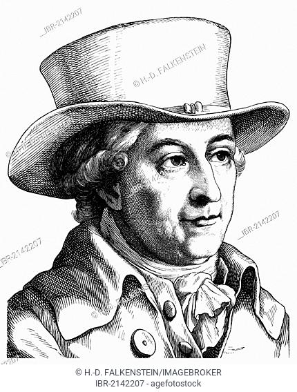Historical drawing from the 19th century, portrait of Justus Moser, 1720 - 1794, a German jurist, statesman, writer and historian