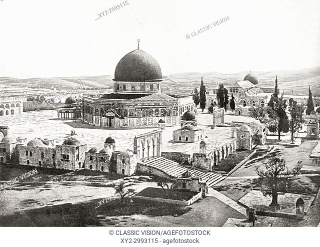 The Dome of the Rock, Temple Mount, Old City of Jerusalem, seen here c. 1900. From Hutchinson's History of the Nations, published 1915