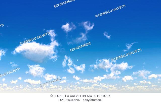 Blue sky with fluffy white clouds. Computer generated Image
