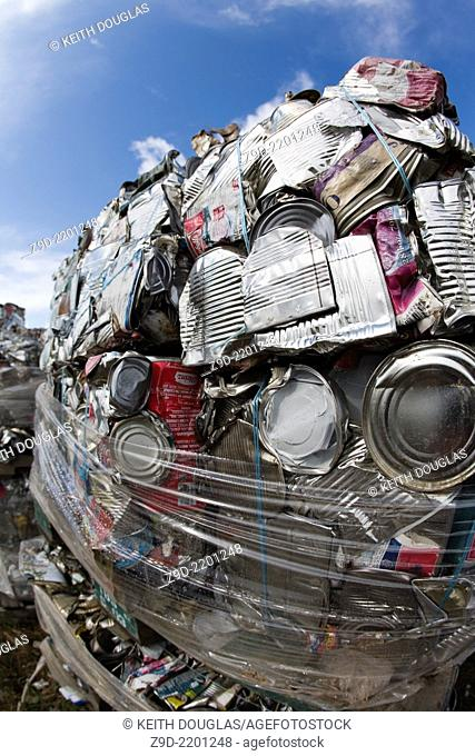 Close-up of crushed aluminum cans at recycling center, Smithers, BC
