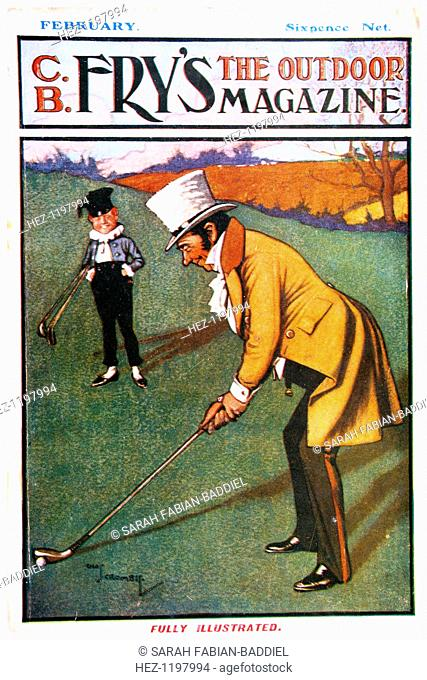 Cover of Fry's Magazine, from February, c1904-c1914. Illustration shows a man with top hat playing a golf shot while a small boy looks on