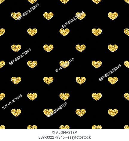 Golden hearts seamless pattern. Gold glitter and black template. Abstract geometric texture. Retro. Valentine day Design template for card, wallpaper, wrapping
