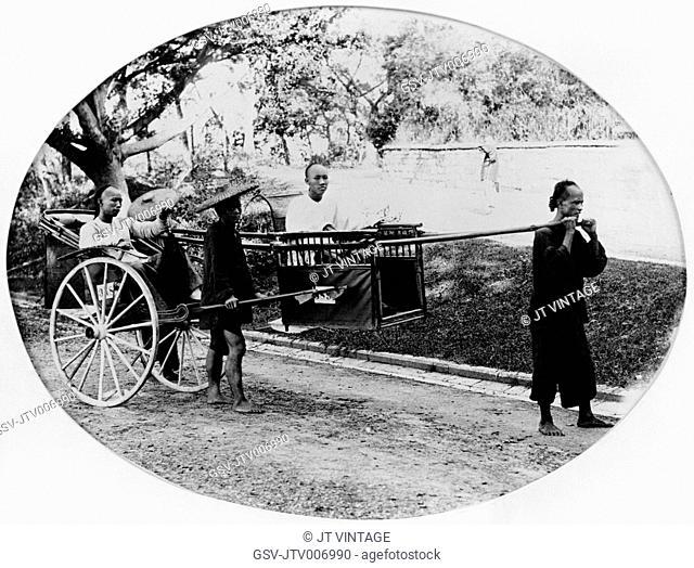 Palanquin and Rickshaw, China, Albumen Print, circa 1870