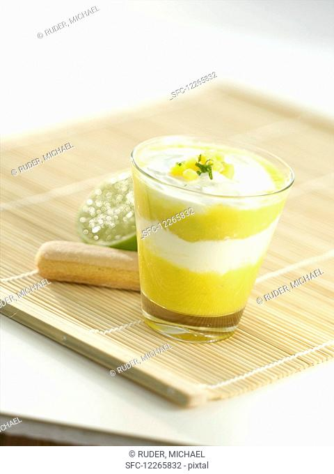 Mango quark in a glass