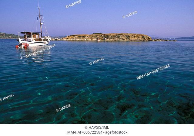 Amoliani Island, fishing boat, Halkidiki, Macedonia Central, Greece