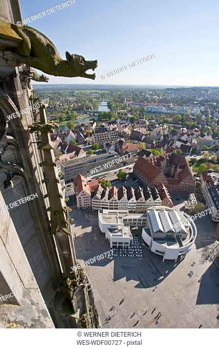 Germany, Ulm, View of city from ulmer muenster church
