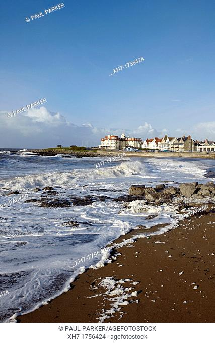 Foamy Waves during a storm along Porthcawl Beach, Porthcawl, Wales, UK