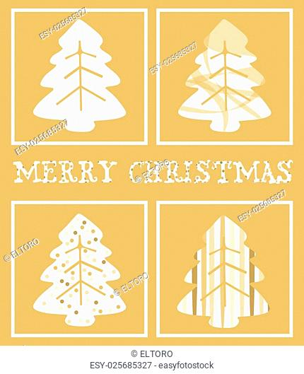 Christmas Greeting Card. Merry Christmas lettering, and abstract pine tree