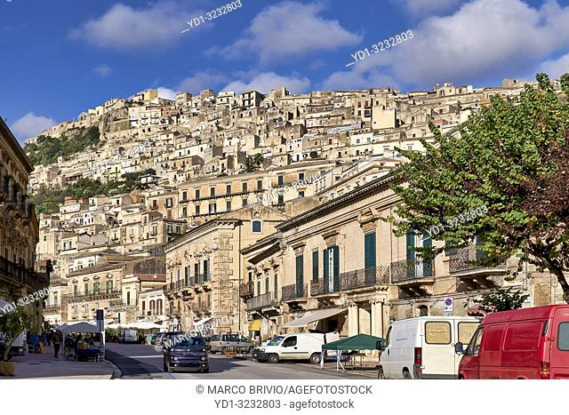A view on Modica, the old town. Sicily Italy