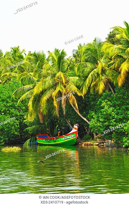 moored fishing boat in backwaters between Kollam and Cochin, Kerala, India