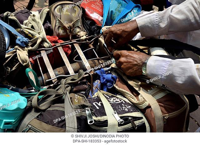 Lunchboxes tied on cycle at mumbai maharashtra India