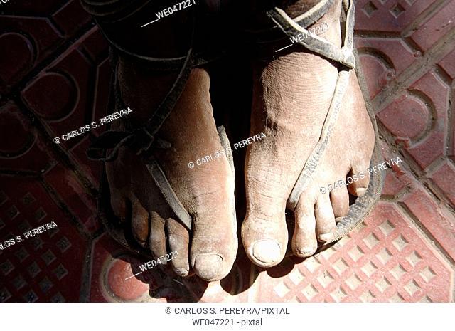 Feet detail. Tarahumara tribe, Chihuahua. Mexico