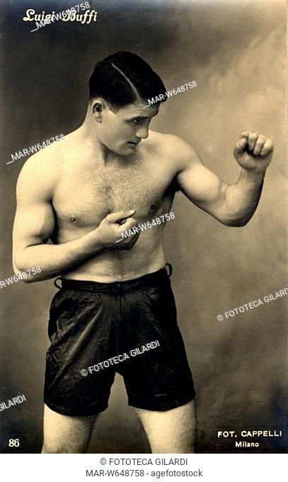Luigi BUFFI campione di boxenella categoria pesi massimi, Italia e Africa del Nord, in attività negli anni 1926-1933. Fotografia 1928 circa