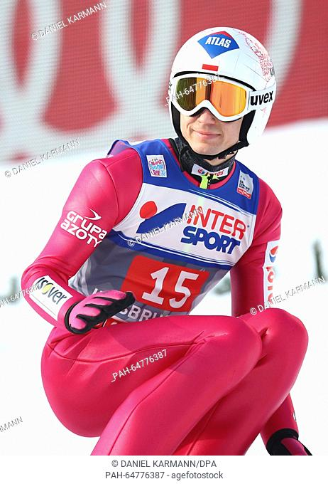 Kamil Stoch of Poland reacts during the third stage of the Four Hills ski jumping tournament in Innsbruck, Austria, 03 January 2016
